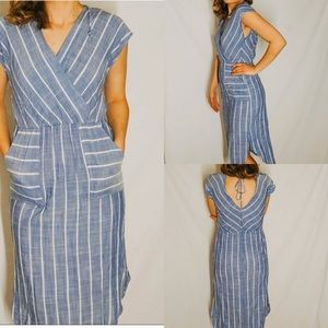 Universal Thread striped faux wrap front dress/S